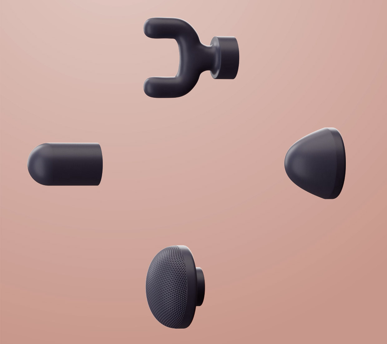 A detail image of the four specialty massage therapy attachments included with the Lyric massager